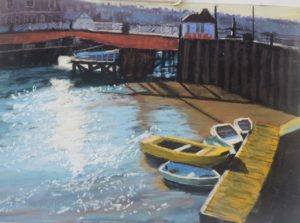 Light on Whitby Harbour 20''x16'' including solid oak frame £225