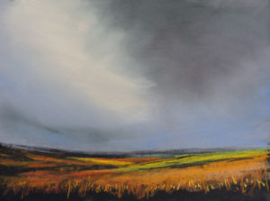 Autumn on the moors size 19'' x 17'' to include oak frame