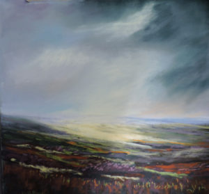 Moorland Light, size 25'' x 25'' to include oak frame