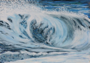 rolling wave size 20'' x 16'' to include oak frame