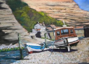 boats in Staithes Beck 20'' x 16'' including solid oak frame £225