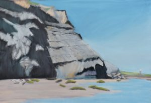 Sun on Jurassic Cliffs size 20'' x 16'' Price to include solid oak frame £225