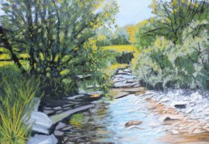 Sunlight on river Esk size 20'' x 16'' price to include solid oak frame £225