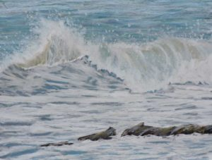 crashing waves 20'' x 16'' in solid wood frame £225