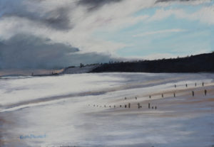 Light on Whitby Beach 20 x 16 inches to include solid oak frame £225