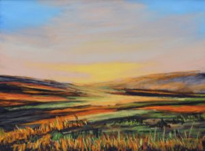 Moorland Autumn size 23'' x 21'' to include solid oak frame.