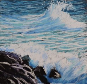 crashing waves 12'' x 12'' to include solid oak frame £110