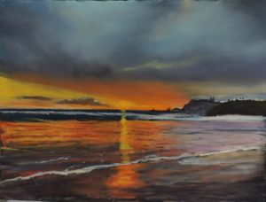 sunrise over whitby 12'' x 12'' to include solid oak frame £110